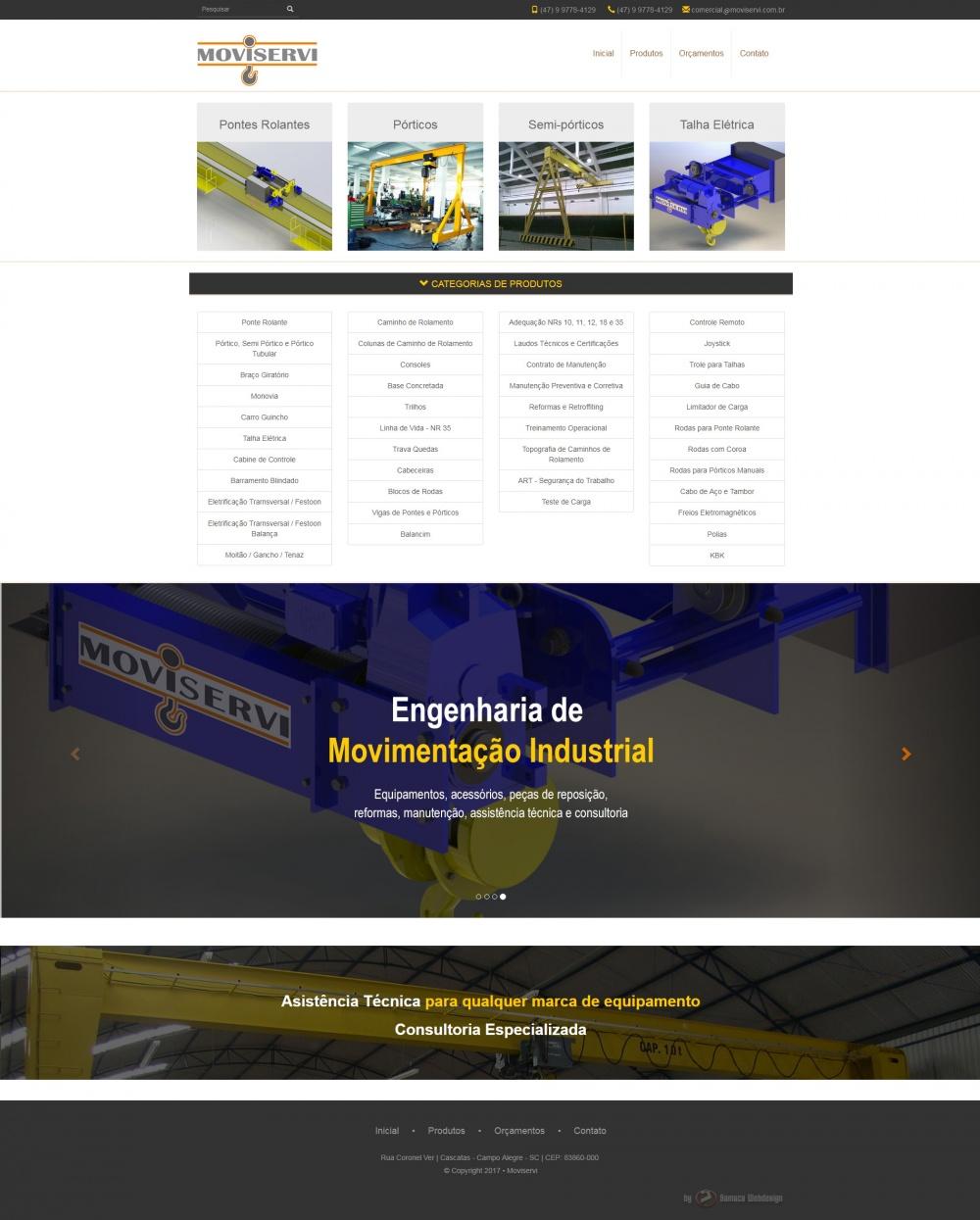 Página inicial do site da Moviservi