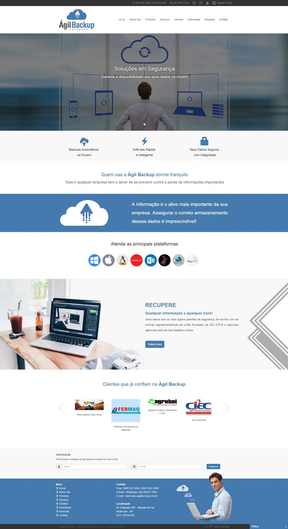 Página inicial do site da Ágil Backup